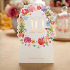 Laser Cut Table Numbers Ivory Flower Laser Cut Table Number Cards Wedding Table Number