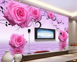 Wallpaper For Living Room High Quality Customize Size Modern Pink Water Roses Tv Wall