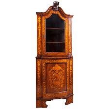 dutch corner cabinet in mahogany with satinwood marquetry c 1800