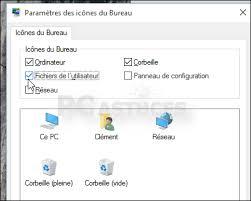 afficher les icones du bureau choisir les icônes du système à mettre sur le bureau windows 10