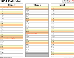 trip planner template 2014 calendar excel 13 free printable templates xls template 6 2014 calendar for excel landscape orientation months horizontally 4 pages