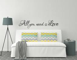 above bed wall sticker love quote all you is love l