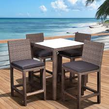 Bar Set Patio Furniture by Atlantic Abaco Square 5 Piece Synthetic Wicker Patio Bar Set Grey
