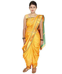 Buy Green Plain Cotton Silk Buy Yellow Plain Cotton Silk Nauvari Saree Online