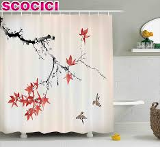 online buy wholesale japanese themed bathroom from china japanese japanese shower curtain cherry blossom sakura tree branches romantic spring themed watercolor picture fabric bathroom decor set