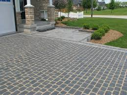 Cover Concrete With Pavers by Permeable Landscaping Driveway Falls With Brick Paver Also Green