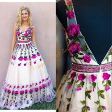 floral dresses prom dresses 2018 3d floral with v neck and backless real photo