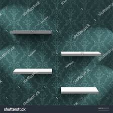 empty shelves on wall ornamental wallpaper stock vector 85446373
