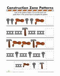 pattern math worksheets preschool construction zone patterns worksheet education com