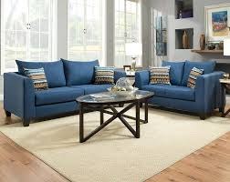 Modern Blue Sofa Living Room Black Leather Sofa Laminate Flooring Purple Coffee