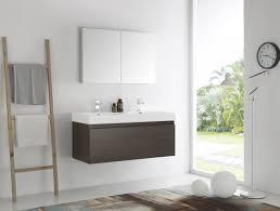 mezzo 48 inch gray oak wall mounted double sink bathroom vanity