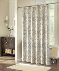 Living Room Curtain Looks Grey Brown Floral Pattern White Curtains With Chrome Pole On White