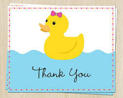 rubber duck baby shower birthday thank you cards pink bow