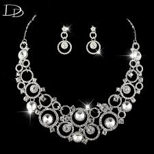 round crystal necklace images Romantic crystal jewelry set for brides round design necklace jpg
