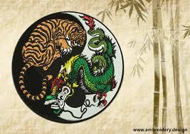 yin yang symbol and tiger with