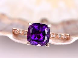 amethyst gold rings images Natural amethyst engagement ring 2ct amethyst ring diamond band jpg