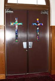 church crosses 1940s aluminum deco church doors with stained glass crosses