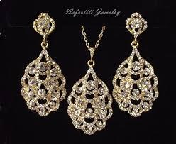 earring necklace rhinestone images Gold bridal jewelry set crystal wedding jewelry set rhinestone jpg