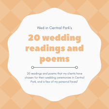 wedding poems 20 wedding readings and poems weddings in central park new york