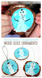 fingerprint snowman wood slice ornament