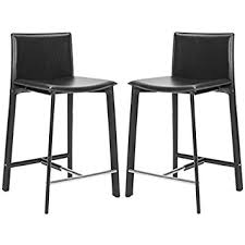 Safavieh Home Furniture Amazon Com Safavieh Home Collection Janet Black Leather 24 Inch