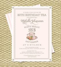 80th birthday tea party invitation milestone birthday