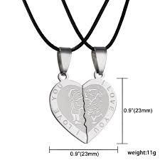 heart couple necklace images Men women couple necklace i love you heart loving stainless steel jpg
