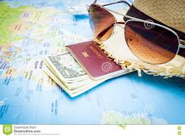 Personal World Map by Hat Sunglasses Passport Money And Aircraft On The World Map