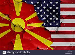 Flag Of Macedonia Flags Of Macedonia And Usa Painted On Cracked Wall Stock Photo