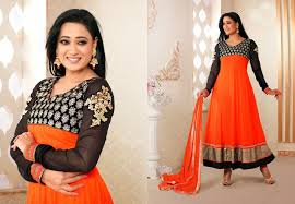 color combination with black lovely combination black and orange net anarkali dress