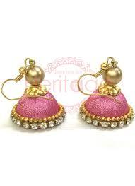 jhumkas earrings baby pink silk threaded jhumkas earrings jewellery accessories