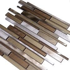 metallic tiles backsplash metallic brown glass modern subway kitchen backsplash tile