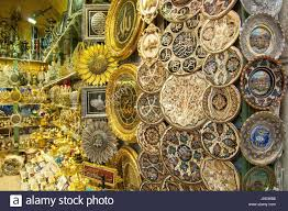 turkish ornamental plates for sale on grand bazaar at istanbul