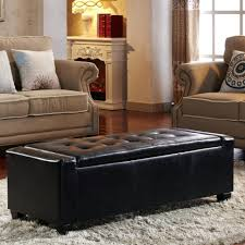 ottomans red leather storage ottoman bench kinfine with arms