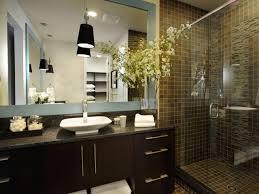 Waterfall Shower Designs Bathroom Dark Brown Vanity Cabinets Dark Brown Wood Mirror White