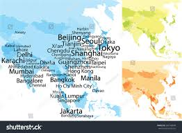 Correct World Map by Map Asia Largest Cities Carefully Scaled Stock Vector 282146840