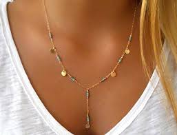 turquoise necklace silver chain images Handmade designer gold filled or sterling silver y shape lariat jpg