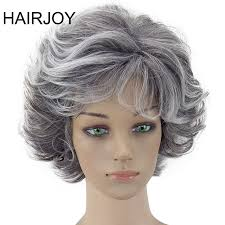 puffy woman curly hair hairjoy women wig 2 tones grey white ombre synthetic short layered
