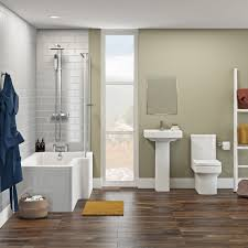 orchard wye bathroom suite with right handed l shaped shower bath