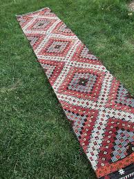 Aztec Runner Rug Rustic Decor Vintage Embroidery Turkish Kilim Runner Rug