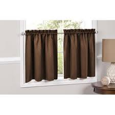 Insulated Kitchen Curtains by Lorraine Home Fashions Facets Brown Blackout Insulated Kitchen