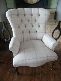 Laura Ashley Armchair Large Victorian Style Button Back Armchair In Laura Ashley Linen