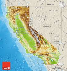 map of california physical map of california shaded relief outside