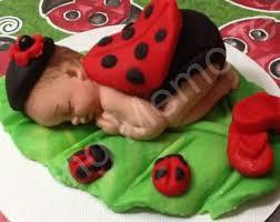 Ladybug Themed Baby Shower Cakes - ladybug fondant caketopper fondant baby ladybug baby ladybug