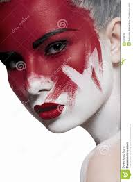 white halloween makeup white skin red lips and blood on face stock photo image 50638208