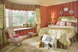 window treatments little girl bedroom pink and green custom kids room braided area rug with upholstered chair in comfortable little girl room plus stripes wall paint and long window bench seat cute little girls