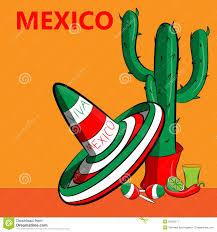 poster mexico with the image of the mexican flag sombrero spicy