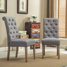 com roundhill furniture habit grey solid wood tufted parsons dining chair set of 2 gray chairs