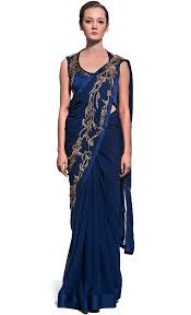 peacock blue stitched saree with embroidered palla sr 41