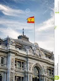 The Flag In Spanish The Flag Of Spain Fluttering On Building Of The Bank Of Spain
